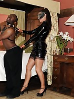 black guy dominated by nyloned bitch
