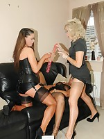 blonde nylon girl toyed by dommes