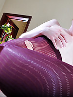 Dolled-up girl pulls up her ripped crimson tights for some intense dicking
