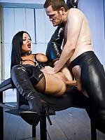 Sexy girl in leather gets pleasure balls and cock