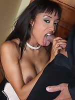 Slender ebony maid is drilled by her naughty boss