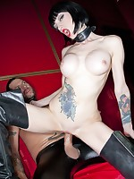 Naughty goth slut screwed hard by a guy in leather